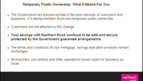 """Denne meldingen møter bankens kunder når de logger seg inn på bankens //www.northernrock.co.uk"""">nettsider. Faksimile fra Northern Rock"""