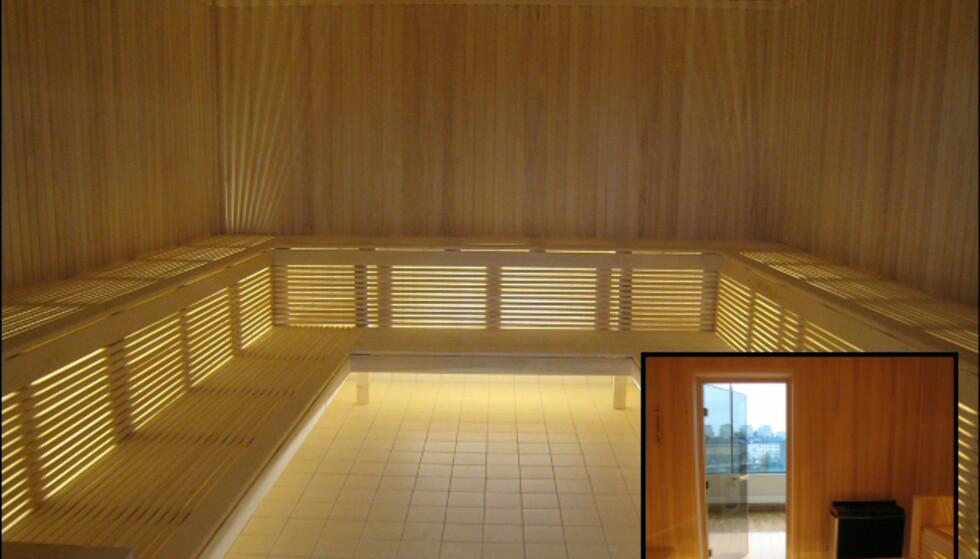 Stor badstu er også åpen for alle. Innfelt nederst til høyre er utsikten, den store badstuen har nemlig glassdør, slik at en kan se utover Stockholm. Foto: Elisabeth Dalseg