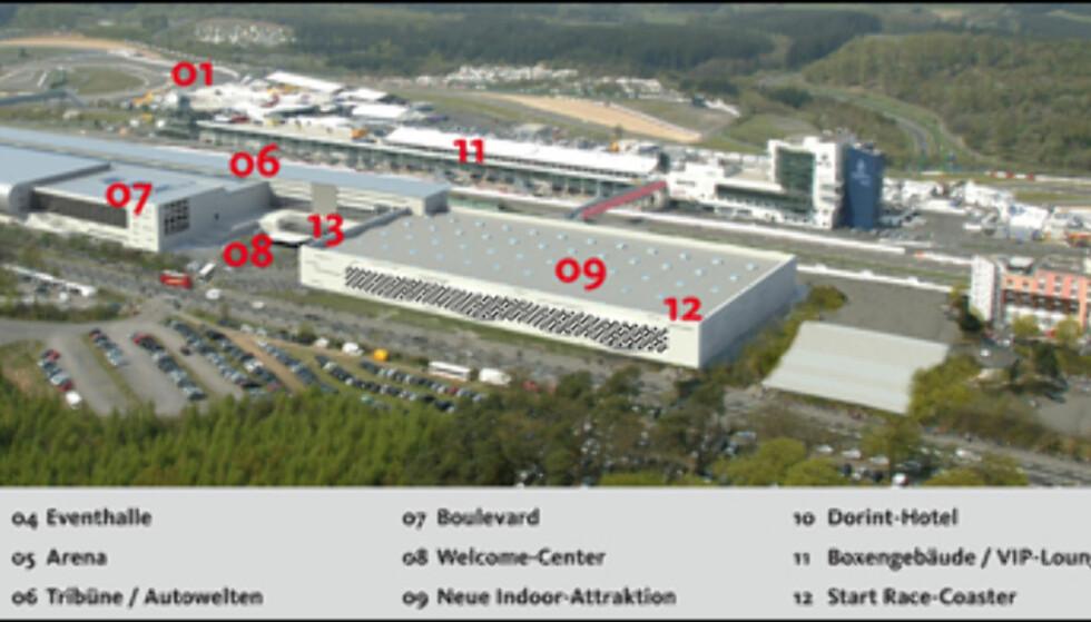 Her kan du se hvor de forskjellige delene skal ligge.  Foto: Nürburgring GmbH / Urner