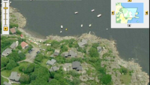 Skråblikk på Norge, tatt fra kysten. Kan du se boligen din? Faksimile fra gulesider.no