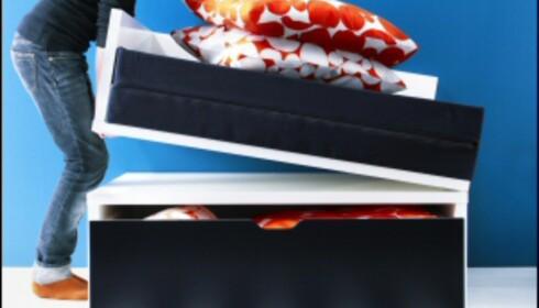 Smarte og rimelige varianter av sovesofaer og gjestesenger får du på Ikea. Her er Odda ekstraseng med oppbevaring til 1.650 kroner. <i>Foto: Produsenten</i>