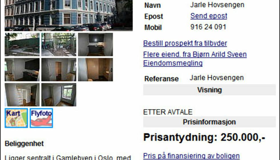 Oslos billigste sentrumsnære toromsleilighet? Med et innskudd på 250.000 og en fellesgjeld på 1.311.5000 kroner blir kvadratmeterprisen 54.791 kroner - som så visst ikke er billig. Men så er det altså en toroms i populære Gamlebyen.  FAKSIMILE FRA FINN.NO