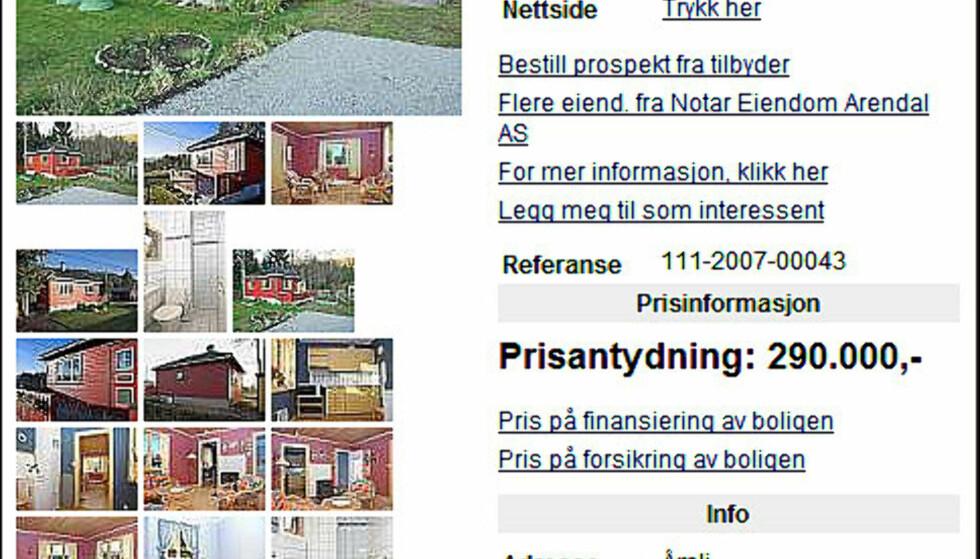 Et lite hus i skogen? Ikke langt fra Arendal er dette huset lagt ut for salg for 290.000 kroner.  FAKSIMILE FRA FINN