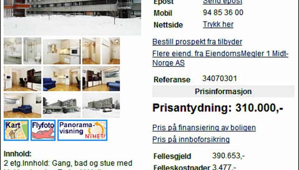 Student i Trondheim, denne boligen vil koste deg 5.151 kroner - dersom du låner for å nedbetale også fellesgjelden. Dette med 100 prosents lånefinansiering i Rindal Sparebank og effektiv rente på 6,25 prosent. Et godt alternativ til å leie bolig.  FAKSIMILE FRA FINN