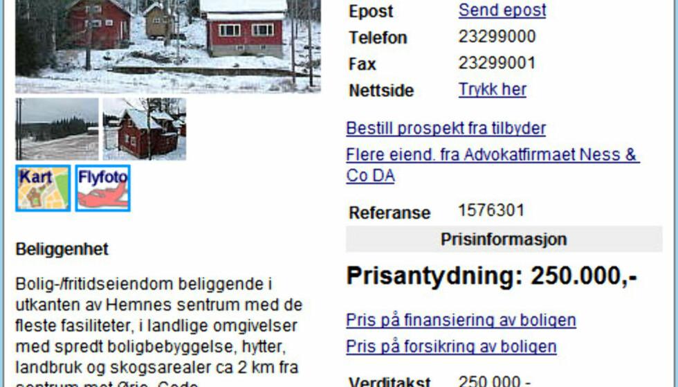 På Hemnes i Aurskog-Høland får du denne boligen i skogkanten for 250.000 kroner.  FAKSIMILE FRA FINN.NO