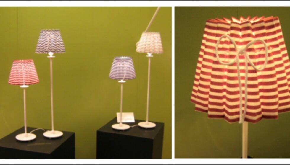 Slike søte lamper med sløyfe så vi flere steder. Disse er fra Konsthantverk Tyringe.