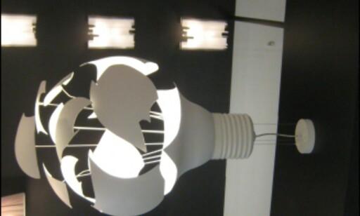 Lampen Scheisse fra norske Northern Lighting er en kommentar til at glødelampen kan være på vei ut. Foto: Elisabeth Dalseg Foto: Elisabeth Dalseg