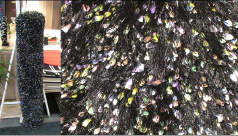 Flossteppene har gjenre ulik struktur, som knuterm eller ulik tykkelse på tråden. Her et teppe fra danske Kilroy Indbo, vist i kontrastfarger. Til høyre: Utsnitt. Foto: Elisabeth Dalseg Foto: Elisabeth Dalseg