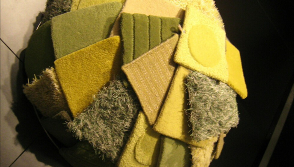 Kathea-teppeprøver i grønt. Foto: Elisabeth Dalseg Foto: Elisabeth Dalseg