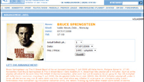 Pålydende pris for en billett til Bruce Springsteen-konserten senere i år er 650 kroner. Billettkontoret.com selger dem for 1490 kroner, men det inkluderer blant annet en velkomstdrink og en middag.   Faksimile: Billettkontoret.com