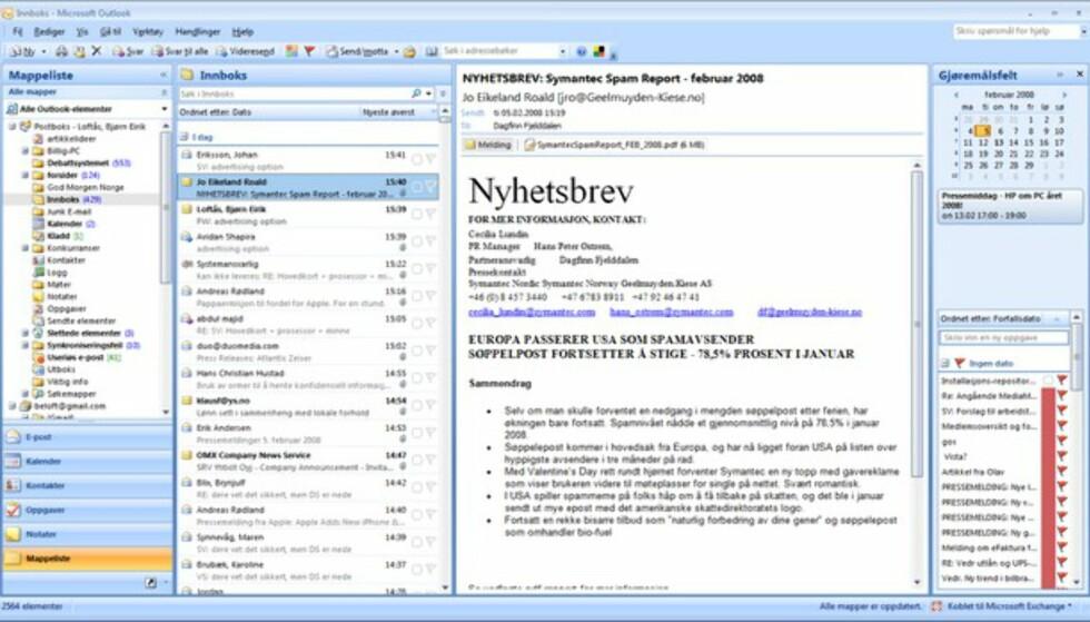 Outlook 2007 er slank i toppen og utnytter bredden på en glimrende måte. Det må definitivt være et annet utviklingsteam som vedlikeholder Outlook enn de andre applikasjonene.