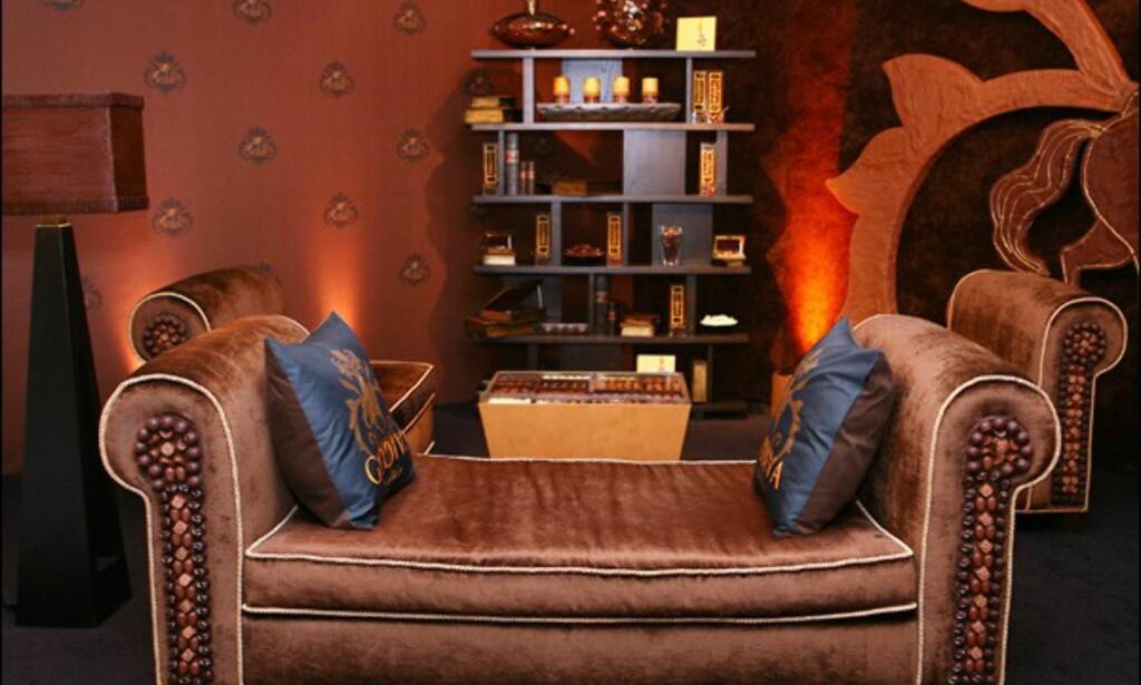 Det er bare sidevangene på sofaen som er av sjokolade, så her kan du trygt sitte.