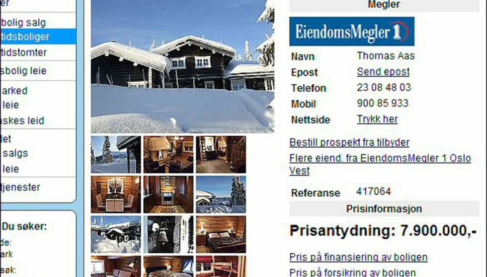 Dyreste i Hedmark, prislapp 7,9 millioner kroner. Faksimile fra finn.no.