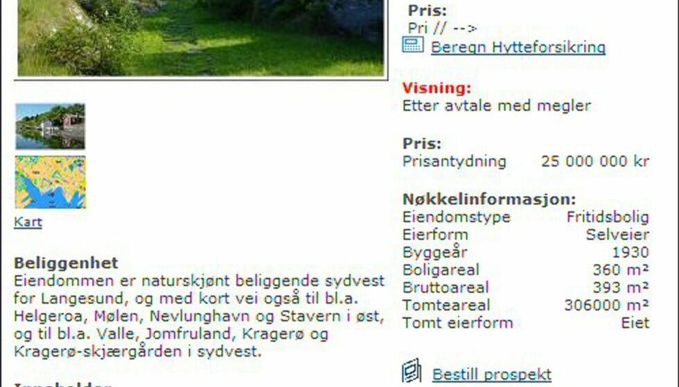 <strong>Telemark:</strong> Dyrest i fylket - og i landet, med en prislapp på 25 millioner kroner. <i>Faksimile fra tinde.no.</i>