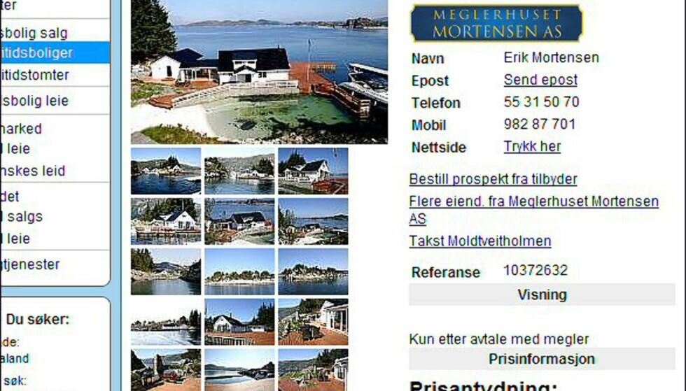 "Hordaland - egen øy med ""alt"" til 12 millioner kroner. Faksimile fra finn.no."
