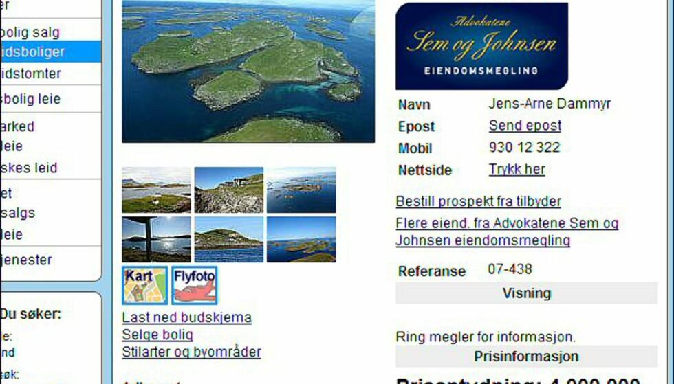 """Nordland: Her er fylkets dyreste """"hytte"""" - en øy med hele fire hytter på. Faksimile fra finn.no."""