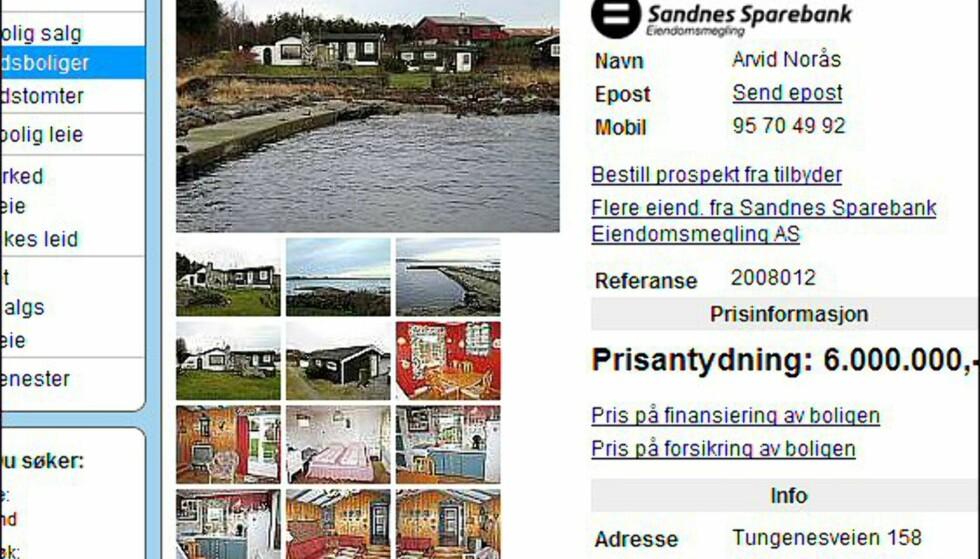 Seks millioner kroner for strandeiendom i Rogaland. <i>Faksimile fra finn.no.</i>