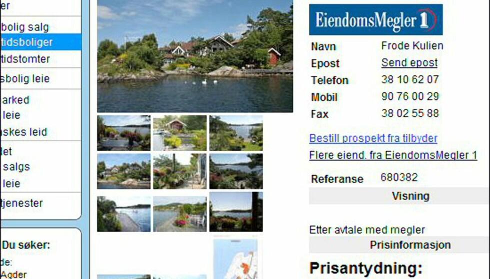 <strong>Vest-Agder:</strong> Her koster fylkets dyreste hytte 14,5 millioner kroner - men så får du også egen strandlinje. <i>Faksimile fra finn.no.</i>