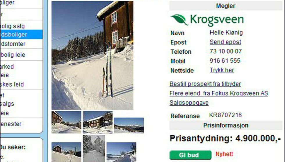 I Sør-Trøndelag koster den dyreste hytten 4,9 millioner kroner. Faksimile fra finn.no.