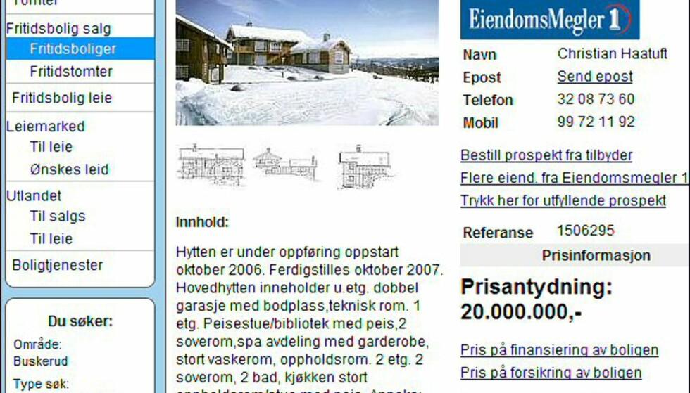 Dyreste i Buskerud, til 20 millioner kroner. Faksimile fra finn.no.