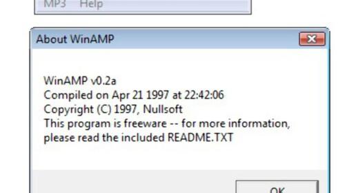 WinAmp 0.2a var ganske minimalistisk, men lar seg kjøre i Windows Vista.