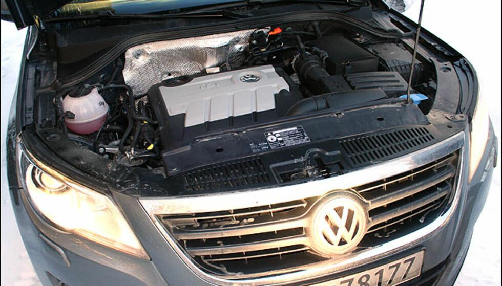 Volkswagens 2.0-dieselmotor har fått common-rail-innsprøytning, og takk for det. Den er kraftfull og kultivert men må se seg slått av BMWs kraftkilde.