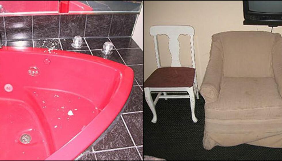 """Taket falt ned i boblebadet! kommenterer innsenderen av bildet fra Ramada Niagara Falls. Generelt må man være skeptiske til boblebad på hoteller med tvilsom hygiene, men med takrester i frister det enda mindre til bruk, på tross av den friske åttitallsfargen. Og på Pacific Sands Motel i Santa Monica (til høyre) er det vel bare å innse at du bør tilbringe minst mulig av tiden i """"godstolen"""". Foto: Private bilder fra Tripadvisor.com"""