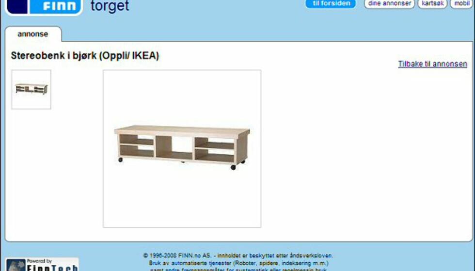 Fin stereobenk fra Ikea i bjørketre - skal ifølge giveren være i god stand. Faksimile fra: finn.no.