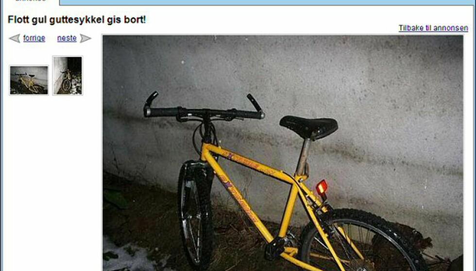 Gratis sykkel? Denne sykkelen gis bort til den som vil hente den. Faksimile fra: finn.no.