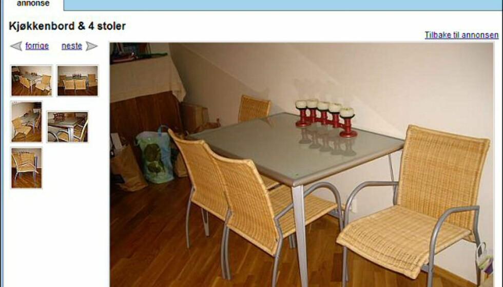 Kjøkkenbord med fire stoler i god stand - også helt gratis. Faksimile fra: finn.no.