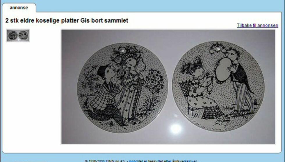 Bjørn Wiinblad er en kjent og anerkjent dansk keramiker og maler. Her får du to platter - helt gratis. Faksimile fra: finn.no.