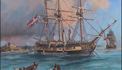 Et maleri av slaveskipet Fredensborg. Skipet ble funnet i 1974 utenfor Tromøya. 1. desember 1768 forliste «Fredensborg» i storm.