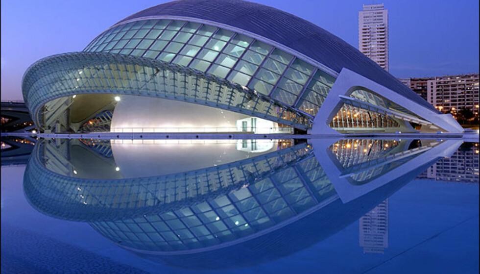 CIUDAT DE LES ARTS I DE LES CIÈNCIES, VALENCIA: Santiago Calatrava er hovedarkitekten bak Valencias kunst- og vitenskapsby. Det tok cirka 13 år å bygge anlegget bestående av vitenskapsmuseum, planetarium, operahus og parkpromenade. Men så vakkert at en begynner å gråte når man kommer dit, har bygget blitt. Anlegget ligger i et tidligere uutviklet område. Anlegget har blitt Valencias største turistattraksjon. Calatrava har i etterkant blitt objekt for en utstilling ved New Yorks Metropolitan Museum of Art kalt Skulptur i arkitektur. Tidligere har han tegnet flyplasser, togstasjoner, operaer, universiteter, tårn og broer.  ADRESSE: Museo de las Ciencias Príncipe Felipe - Avd. Autopista del Saler, no. 7 Nett: CAK, Calatrava
