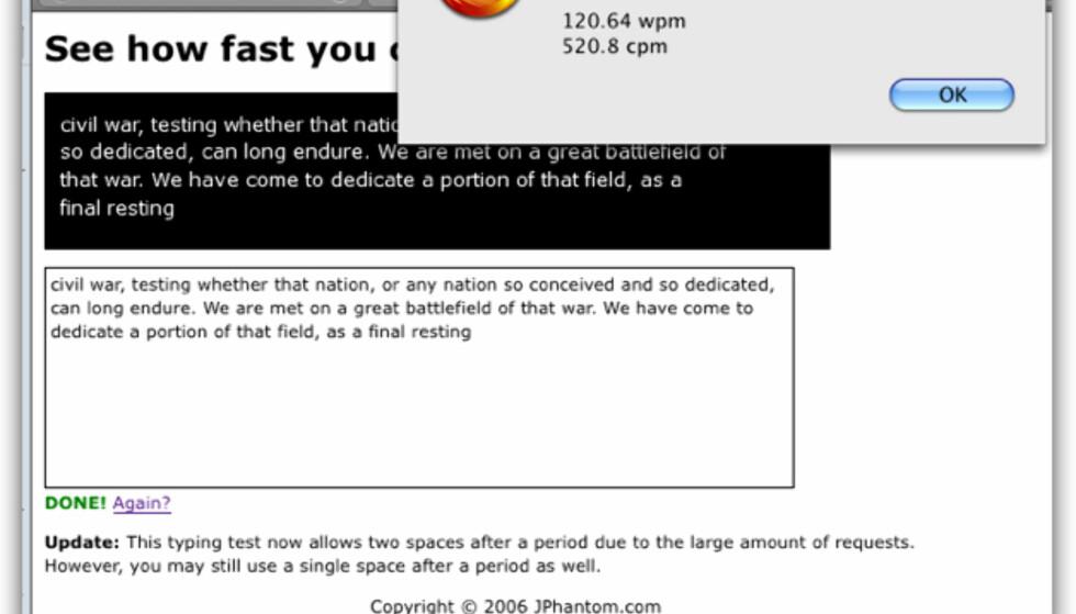 Test hvor raskt du skriver