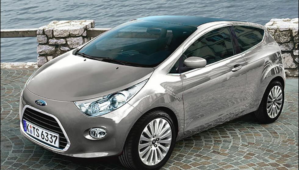 Hvis neste Ford Ka blir slik, blir det i hvert fall et stort løft fra dagens modell. Bildet er manipulert.
