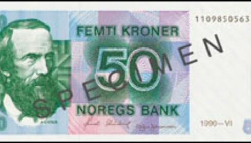 Denne 50-lappen er snart verd 0,- kroner. Faksimile fra Norges Bank