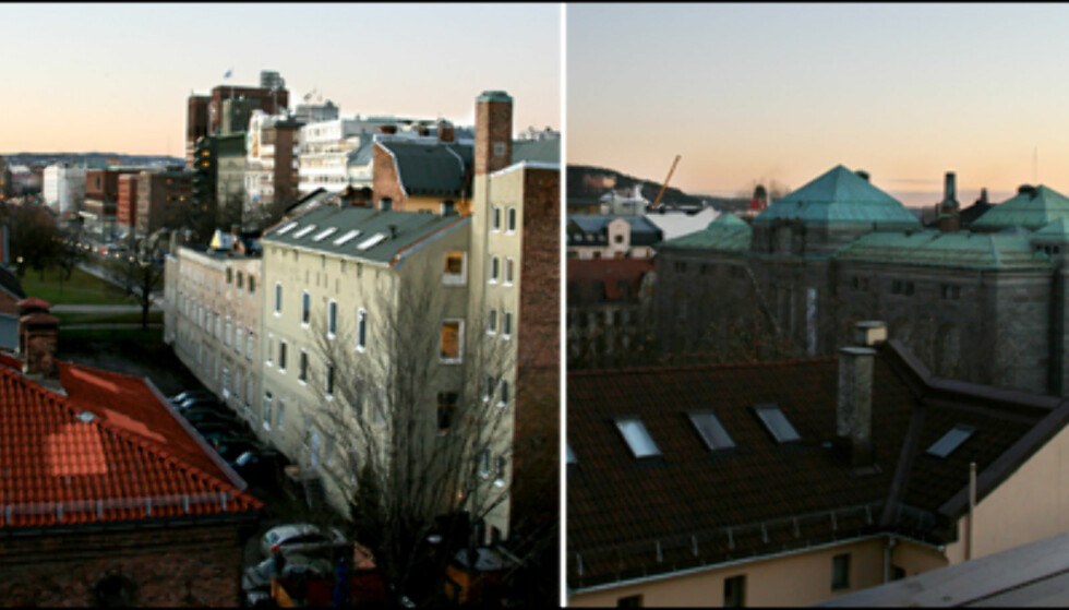Utsikt fra takterrassen. På venstre side ser du Rådhuset i det fjerne, mens på høyre side ser du Nasjonalmuseet (tidligere Norges Bank). Foto: Kim Jansson