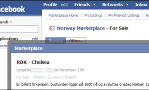 En person prøvde å selge billetter til fotballkamp på Facebook. Foto: Skjermbilde fra Facebook