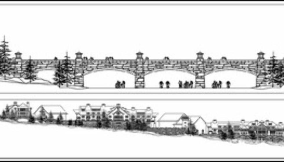 Skisser av hvordan arkitektene ser for seg noe av området. Foto: PingTian Resorts Ltd.