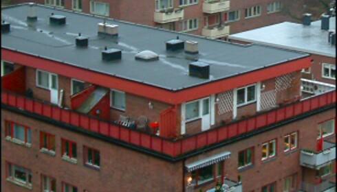 Vann renner av på midten, på flate tak. Dersom slukene går tett, blir taket lett et basseng. Her ser du tydelig hvor vannet samler seg, i kryss på midten av taket. <i>Illustrasjonsfoto: Newswire</i> Foto: Foto: Newswire