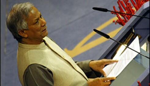 Mikrolånbanken Grameens grunnlegger Muhammad Yunus ble tildelt Nobels Fredspris i fjor. <i>Foto: Inga Holst</i>
