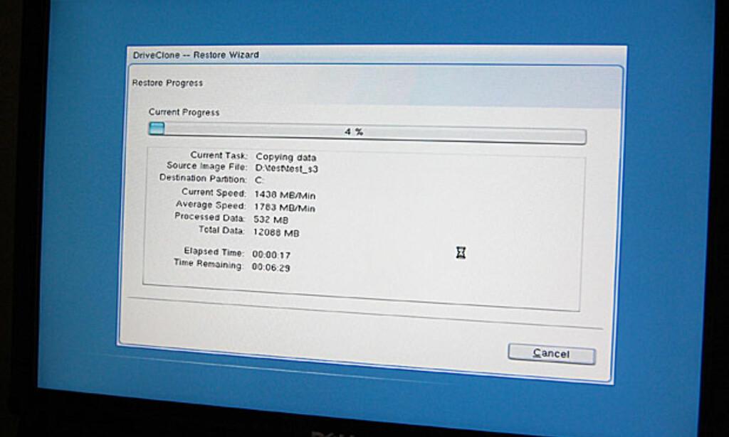 Programmet jobber meget raskt, både ved opprettelse og gjenoppretting. Her gjenoppretter vi en systempartisjon på 35 GB (12 GB data) på rundt 7 minutter.
