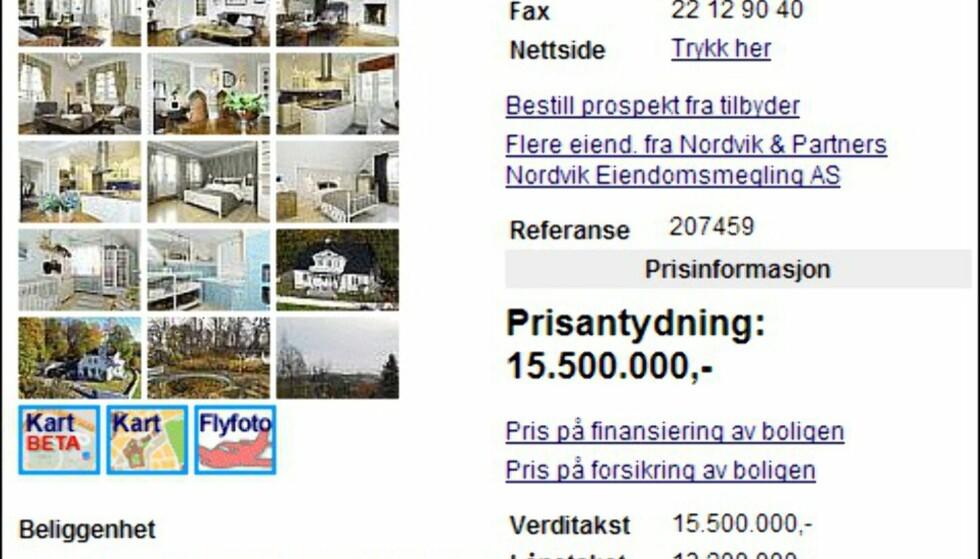 Dette huset på Oslo vestkant har en prisantydning på 15,5 millioner kroner. Huset er på 380 kvadratmeter og har 2,3 mål eiet tomt med lite plaskebasseng.  Faksimile fra Finn.no Foto: Finn