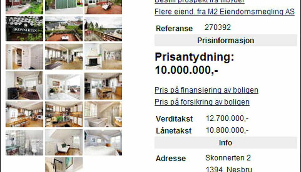 SOLBRIS: Villa Solbris heter denne eiendommen på Landøya i Asker kommune, vest for Oslo. Eiendommen, som ligger 50 meter fra fjorden, er prissatt til cirka 10 millioner kroner. Selve huset er fra 1939..  Faksimile fra Finn.no