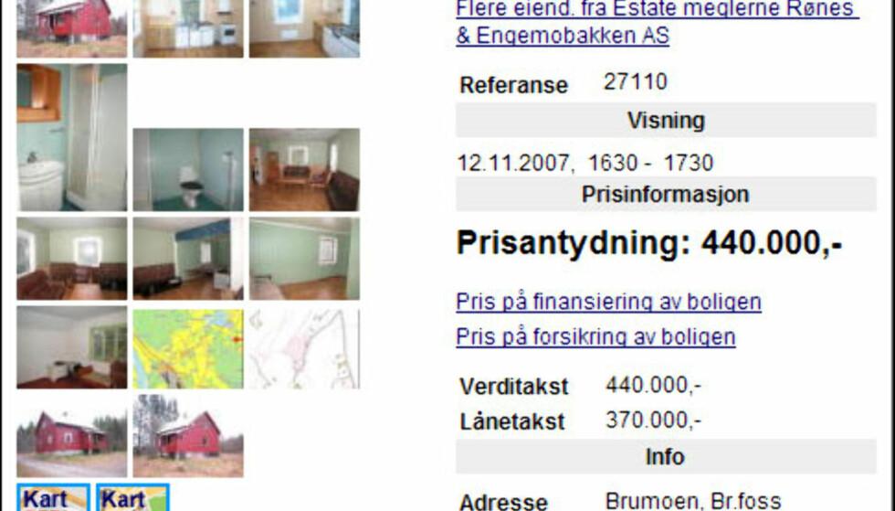 HUS I SKOGEN: 450.000 kroner koster dette vesle huset i Braskereidfoss som er bygget i 1950. Det gir en kvadratmeterpris på 2.743 kroner. Billigere blir det nok ikke, men kjøperen må regne med å bruke litt på oppgraderingen.  Faksimile fra Finn.no