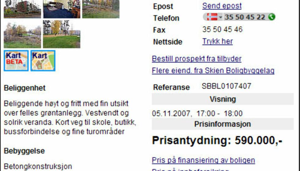 SKIEN: Du får mye bolig for pengene i Skien i Telemark. Denne treromsleilighten koster 590.000 kroner, men det følger med en fellesgjeld på 86.354 kroner. Boligen er fra 1973 og fordeler seg på 71 kvadratmeter.  Faksimile fra Finn.no
