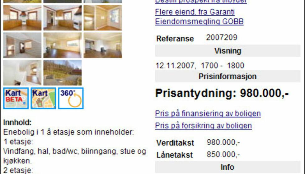 Mye enebolig for pengene får du på Raufoss. 980.000 kroner koster denne 116 kvadratmeter store boligen bygget i 1939. Faksimile fra Finn.no