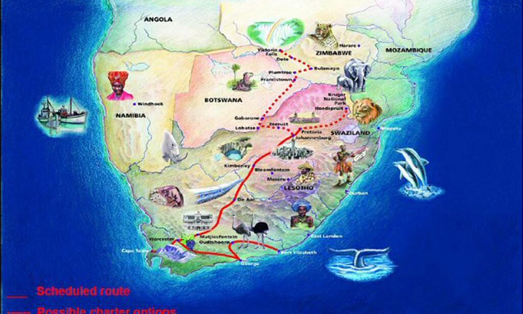 Her er Blue Trains rutekart.