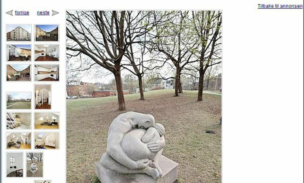 Fin statue i bakhagen? Nei, da, det er fra Frognerparken (som etter sigende ligger i nærheten av leiligheten)... Faksimile fra finn.no