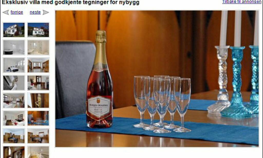 Hus til 13,9 millioner i Bergen. Spørs om eierne da ikke også har råd til å la det rosa boblevannet stå når de flytter? Faksimile fra finn.no.
